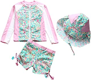 DNggAND Baby Toddler Girls Two Pieces Swimsuit Set Swimwear Kids Bathing Suit Rash Guards with Hat UPF 50+