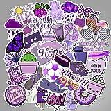 BLOUR 50 unids/Set Cartoon Purple Decorativo Girl Stickers para DIY Maleta Skateboard Laptop Sticker Niños Regalo Juguetes Calcomanías