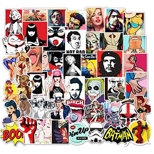 BLOUR 50 Piezas sin repetición PVC Impermeable Amazon Ebay Dibujos Animados emergentes Personalizados Graffiti Trolley Case Pegatina personalización