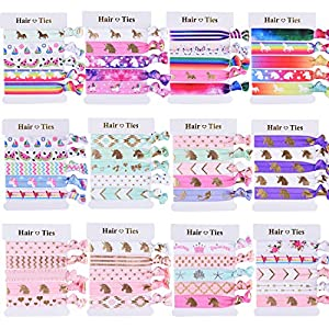 SIQUK 60 Pieces Unicorn Hair Ties Colorful Hair Elastics Ponytail Holder Hair Bands for Girls