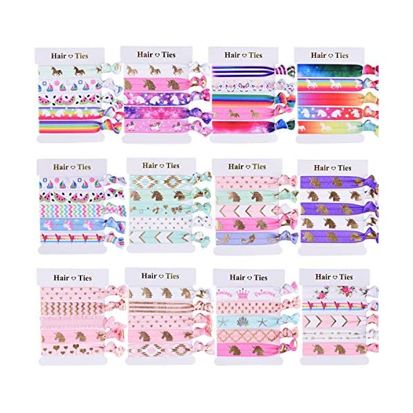 SIQUK 60 Pieces Unicorn Hair Ties Colorful Hair Elastics Ponytail Holder Hair Bands for Girls 3