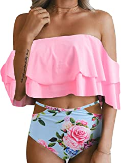 cf9f4f016d85d Tempt Me Women Two Piece Off Shoulder Ruffled Flounce Crop Bikini Top with  Print Cut Out