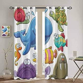 Homrkey Whale Decor Collection Wear-Resistant Color Curtain Group of Underwater Animals Sea Otter Slug Snail Summer Day Art Design Premium Blackout Curtains W52 x L72 Inch Blue Purple Green