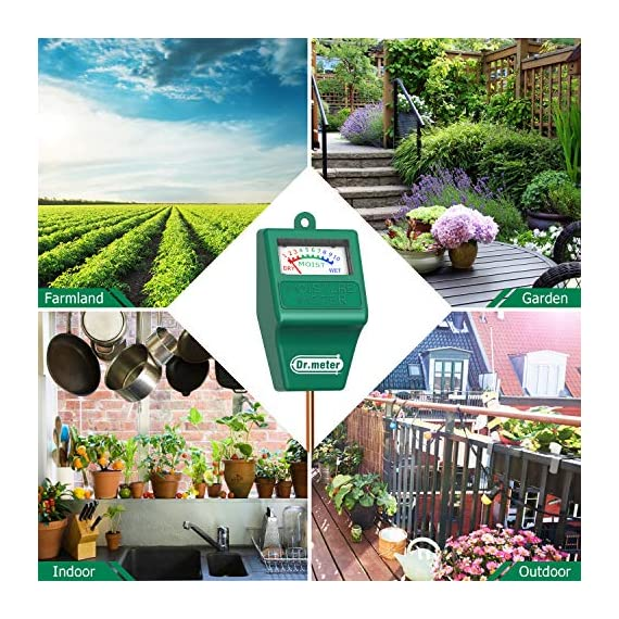Soil Moisture Meter, S10 Soil Test Kit, Dr.meter Moisture Meter for Plants, Plant Water Meter for Garden Lawn Farm… 2 ▶ 【Compact & Portable】 Have you been sticking your finger in the soil hoping to feel when it's time to water? Why not eliminate the guesswork and keep your hands clean when you use the Dr.meter Soil Moisture Sensor Meter! Know the right time to water your garden, farm, lawn and plants, anytime. ▶ 【Easy to Read】No experience required--while this machine is sophisticated, it's not complicated! With an interface using ten scales and a color-coded reading system from red, green to blue, it's never been more straightforward reading your soil moisture. ▶ 【No Batteries Required】Who needs batteries or electricity? Just plug stick it into the ground and get a reading in no time!