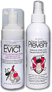 Lice Ladies EVICT and Prevent 2-Pack/All-Natural, Non-Toxic, Fast Acting Lice Treatment Mousse and Preventative Spray/homeopathic Formula / 2 Pack of 1 – 4 oz EVICT / 1 – 8 oz Prevent Spray