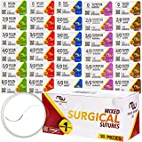 Suture Thread with Needle 30Pk (Mixed 0, 2/0, 3/0, 4/0, 5/0, 6/0) - Practice Suturing; Cam...