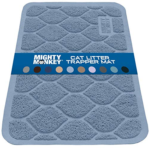 MIGHTY MONKEY Premium Cat Litter Trapping Mats, Best Scatter Control, Jumbo XL Sizes, 35 x23 inches, Mat Traps Litter, Easy to Clean, Soft on Kitty Paws, Soft Blue