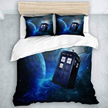 YOLIKA Duvet Cover Set Doctor Who Theme of Movie Space Art Print Decorative 3 Piece Bedding Set with 2 Pillow Shams Queen Size