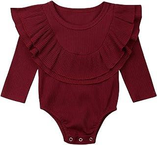 Glücklicher Käufer Baby Rüschen Strampler Baumwolle Langarm Body Casual T-Shirt Bluse Tops für 0-24 Monate