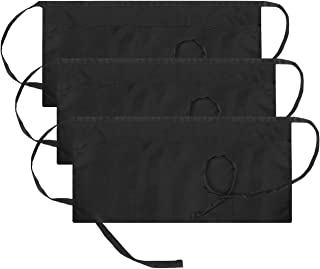 InnoGear 3 Pack Cotton Waist Apron with 3 Pockets Waiters Waitress Half Short Bistro Restaurant Aprons for Women and Men, Black