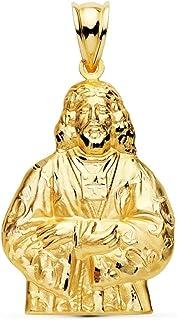 Silhouette 18 carati ciondolo in oro 31 millimetri. Medinaceli Cristo scolpito dettagli