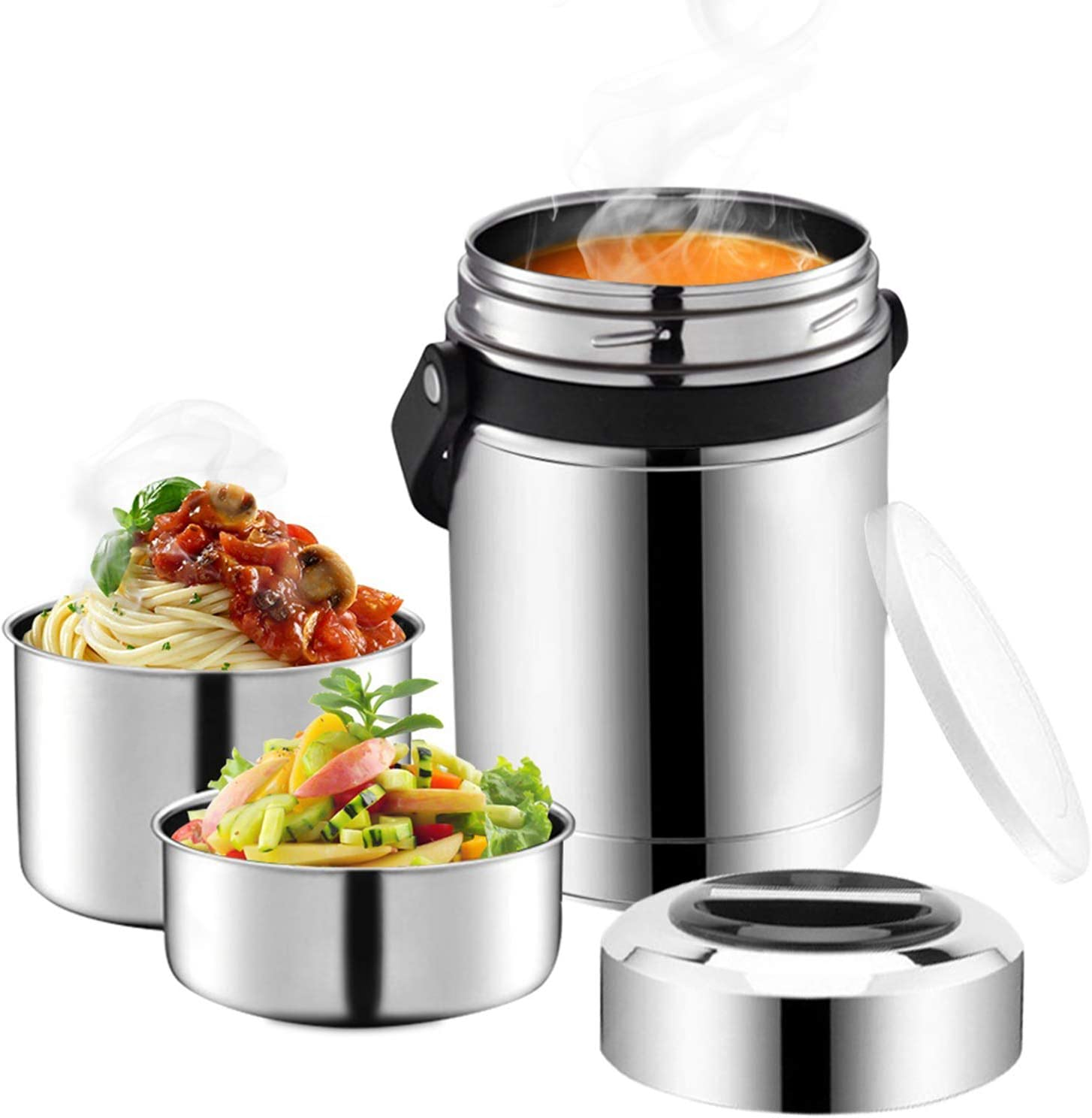 Soup Thermos Wide Mouth,61oz 3 Tier Large Food Thermos Jar,Multiple Tier Food Flask for Hot Food with Handle,Thermal Soup Container,Stainless Steel Food Jar,Travel Insulated Lunch Box,Lunch Container