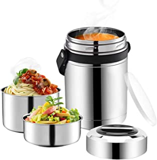 Soup Thermos Wide Mouth,61oz Large 3 Tier Food Thermos Jar,Multiple Tier Food Flask for Hot Food...