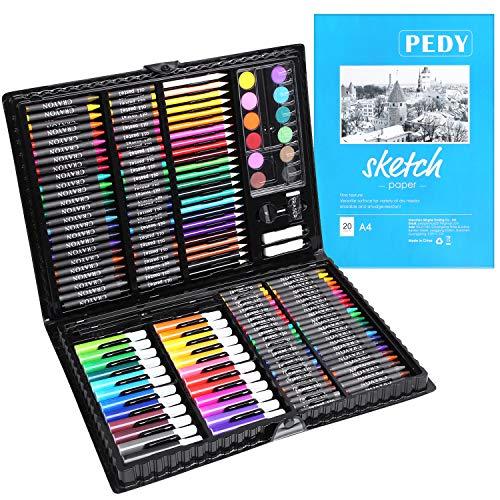pedy 164 pcs Maletín de Lápices de Colores, Estuche de Pintruas para Niños, Incluye Crayones de Cera, Acuarelas, Lápices de Dibujo, Pasteles, Rotuladores, Gomas de Borrar, Libro para Dibujar
