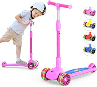 3-Wheeled Scooter for Kids, PU Wheel with LED Lights, Adjustable Lean-to-Steer Handlebar , Foldable Seat, Sit or Stand Rid...