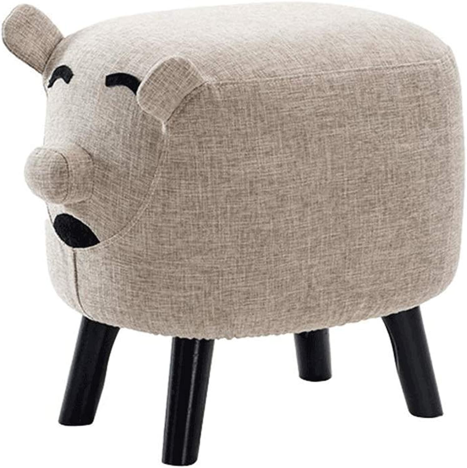 Solid Wood Pig-Shaped Footstool Padded Seat Bench Replacement shoes Bench Makeup Stool Sofa Stool