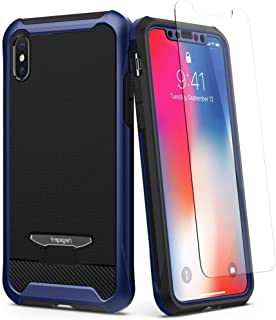 Spigen iPhone X Reventon case / cover - Metallic Blue - Full 360 protection with 2 pc Glass Protector