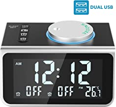 LATME Alarm Clock Radio for Heavy Sleepers W Dual Alarms,3.2'' Digital Display and Dimmer,7 Alarm Sounds,Snooze,2 USB Ports,Bedside FM Radio Alarm Clocks with Temp Display for Bedrooms/Kitchen/Office