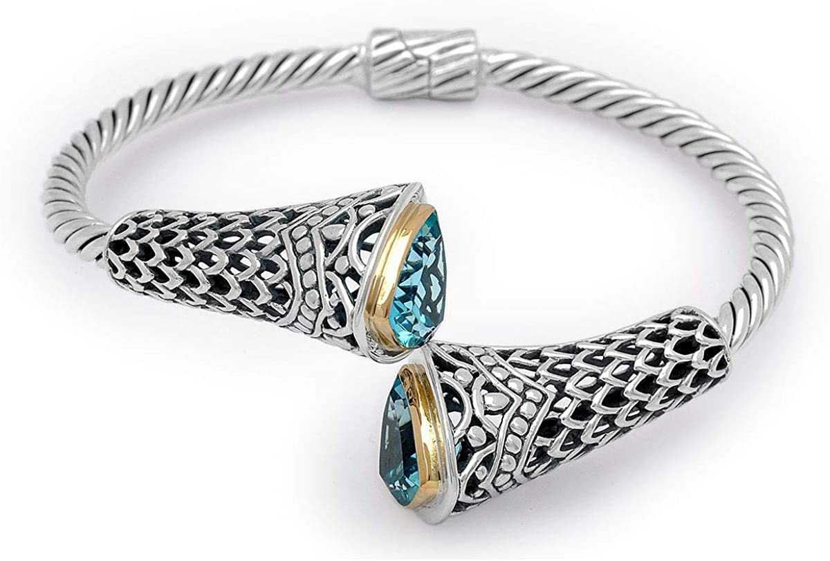 Deni Jewelry 925 Sterling Silver and 18K Gold Cuff Bracelet with