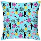 Tukan und Flamingo-Ananas-dekoratives Quadrat Kissenbezüge Bunte Kissen Kissenbezüge