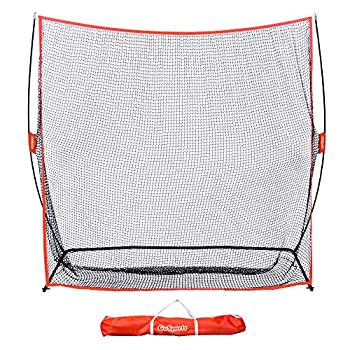 GoSports Golf Practice Hitting Net | Huge 7' x 7' Personal Driving Range for Indoor or Outdoor Swing Practice | Designed by Golfers for Golfers Red