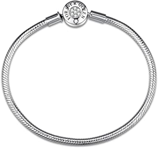 Charm Bracelet Fit Charms 925 Sterling Silver Basic Snake Chain Bracelet for Women Girls, Signature Bracelet with Sparkling Round Clasp Charm Clear CZ FQ00016