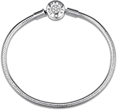 FOREVER QUEEN Charm Bracelet Fit Charms 925 Sterling Silver Basic Snake Chain Bracelet for Women Girls, Signature Bracelet with Sparkling Round Clasp Charm Clear CZ FQ00016