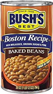 BUSH'S BEST Baked Beans Boston Recipe, 28 Ounce Can, Plant-based Protein and Fiber, Low Fat, Gluten Free, Canned Baked Beans, Canned Beans