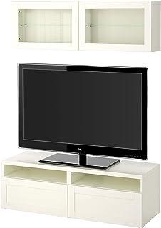 BESTÅ TV combinación de almacenamiento combinación/puertas de vidrio 120x166 cm Hanviken/Sindvik blanco cristal transparente