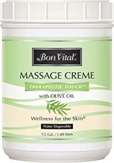 Bon Vital' Therapeutic Touch Massage Crème, Professional Massage Therapy Cream with Olive Oil to Repair Dry Skin & Soothe Sore Muscles, Full Body Moisturizer for Youthful Looking Skin, 1/2 Gal