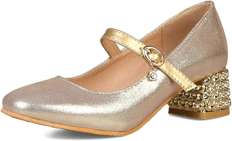 SaraIris Women's Mid Heel Rhinestone Girl Cute Mary Jane Dress Pumps