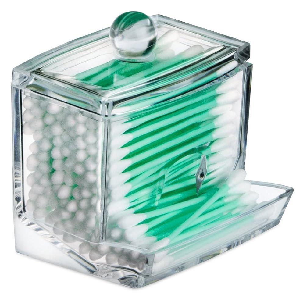 ブラシパイロット美徳STARMAX 棉棒ボックス 透明 アクリル製 フタ付き 防塵 清潔 化粧品小物 収納ケース 綿棒入れ 小物入れ 化粧品入れ コスメボックス (9cm*7cm*7.5cm)