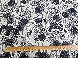 Oddies Textiles (CP821IVO) Stoff mit Totenköpfen und