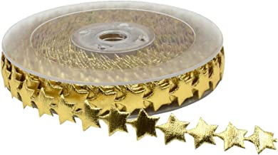 Mystart 1 Roll 15mm Width Gold Star Ribbon Trim Embellishment for Holiday Wedding Decoration Gift Cake Wrapping