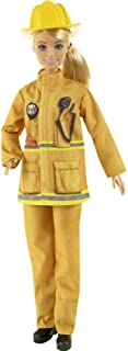 Barbie Firefighter Playset with Blonde Doll (12-in), Role-Play Clothing & Accessories: Extinguisher, Megaphone, Hydrant, D...