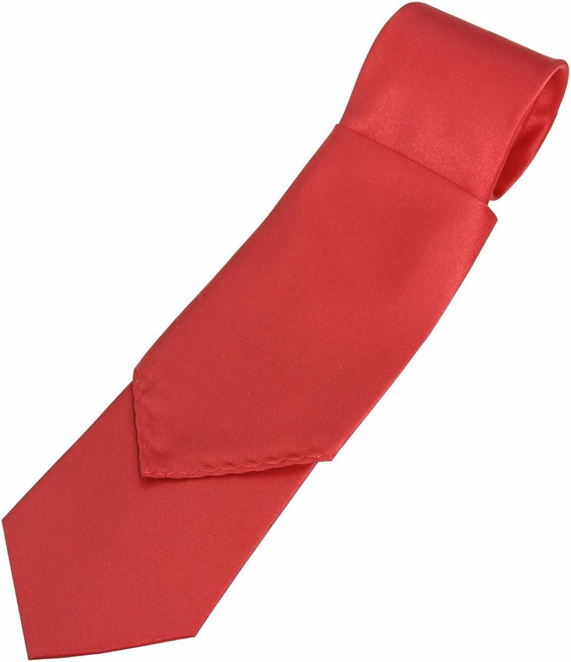 Solid Satin Men's Necktie and Pocket Square set in Scarlet