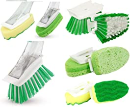 Libman Scrub Brush Dish Wand Combo for Non-Scratch Surface Scrubbing Dishwash Vegetable Cast Iron Kitchen Cleaning