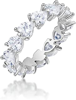 Erllo 925 Sterling Silver Zirconia Heart Shaped Eternity Band Engagement Wedding Ring