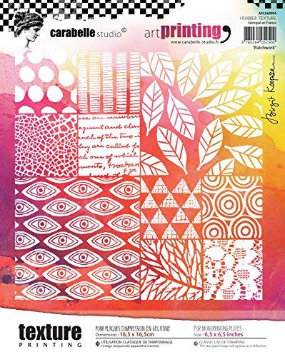 Timbro texture rettangolare in gomma della gamma Art Printing di Carabelle Studio, patchwork, per lastre in gel per monotipo