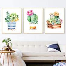 (24x34cm)Triptych,5D DIY Diamond Painting Succulents Cactus 3D Full Square Diamond Embroidery Cactus in The Bottle Cross Stitch Home Decor