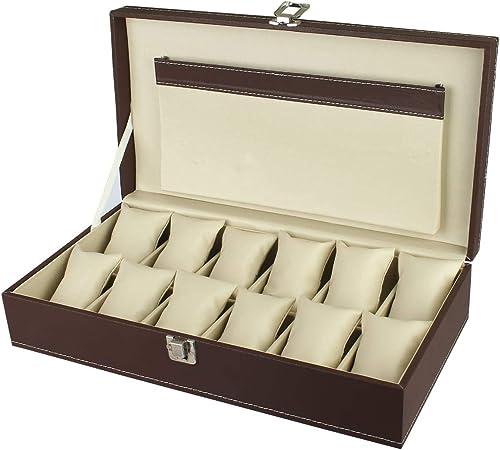 PANKATI Watch Storage Box Organizer with Faux Leather Finish with 12 Slots