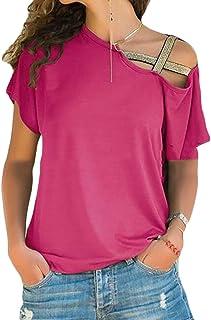 FRPE Womens Off Shoulder Plus Size Short Sleeve Casual Crosscriss Top T-Shirt Blouse