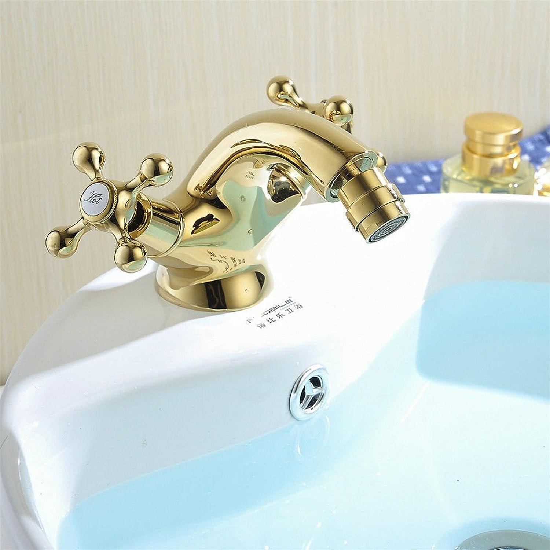 MNLMJ Moderne einfacheKupfer hei und kalt Spülbecken Wasserhhne Küchenarmatur Becken WasserhahnKupfer verchromt Gold Bad Zhler Becken Wasserhahn Doppeleinloch hei und kalt Waschbecken Wasserhahn