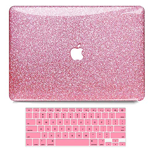 B BELK MacBook Air 13 Inch Case 2010-2017 Release Older Version A1466 A1369 Shining Sparkly Crystal Glossy Ultra Slim PC Hard Case with Keyboard Cover for Mac Air 13 Without Touch ID, Rose Red