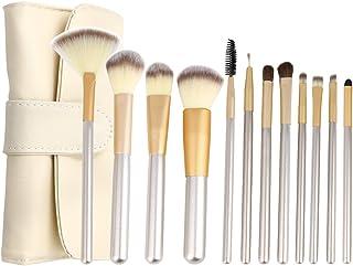 c351fab37 uxcell 12 Pcs Powder Foundation Eyeshadow Eyelashes Eyebrow Cosmetic Makeup  Brushes w Storage Bag