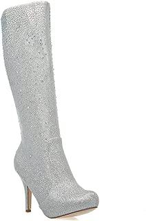 Womens 23-ROBIN98 Closed Toe Rhinestone Knee High Stiletto Heel Platform Boot Shoes, Silver Glitter