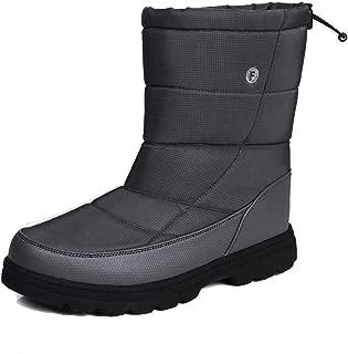 CARENURSE Men Women Snow Boots Mid Calf Slip On Booties Cushioned Lightweight for Outdoor