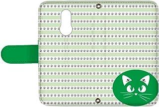 スマQ LG Style L-03K 国内生産 ミラー スマホケース 手帳型 LG エルジー エルジー スタイル 【C.グリーン】 猫 ワンポイント ボーダー ami_vd-0155