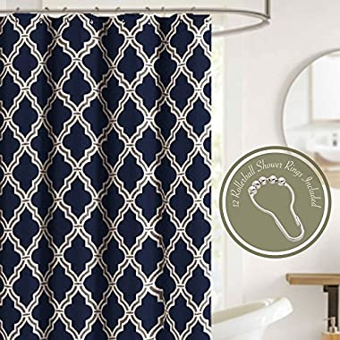 HowPlumb Shower Curtain Set with 12 Roller Hooks Rings Navy Blue Quatrefoil Trellis Textured Fabric Decorative Bathroom