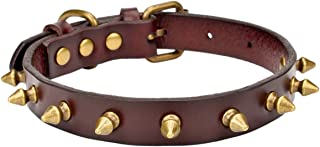 """AOLOVE Basic Classic Adjustable Genuine Cow Leather Pet Collars for Cats Puppy Dogs (Large/Neck 11.8""""-15.3"""", A-Dark Brown)"""